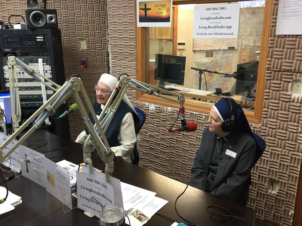 Sr. Marilee and Sr. Janet at the Living Bread Radio station.